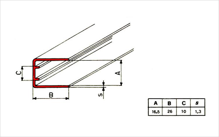 Guida scorrimento serrandine in PVC